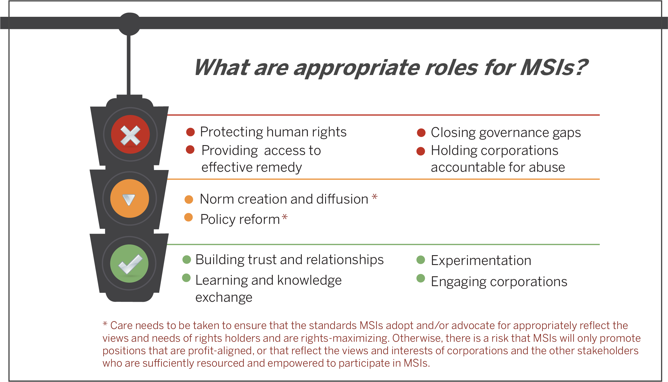 What are appropriate roles for MSIs?